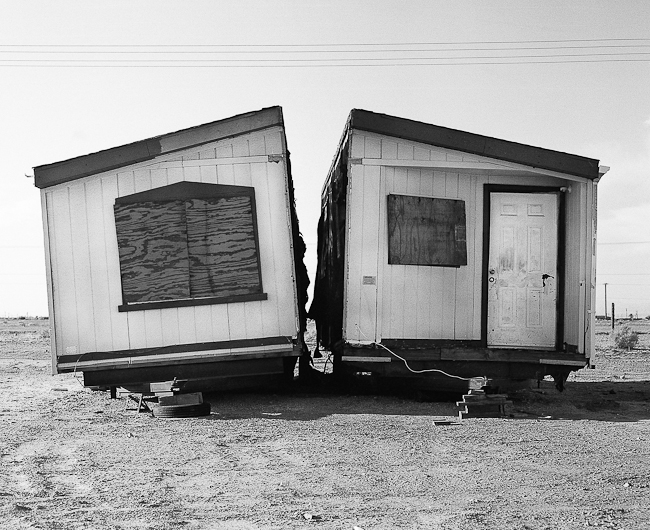 An abandoned double wide home at the Salton Sea